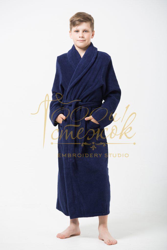 Подростковый халат с капюшоном категории «Стандарт» с именной вышивкой (Темно-синий)