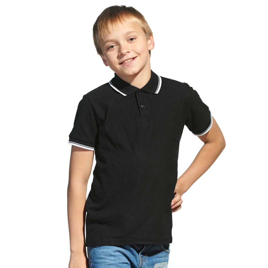 Детская рубашка поло с именной вышивкой (Черный)