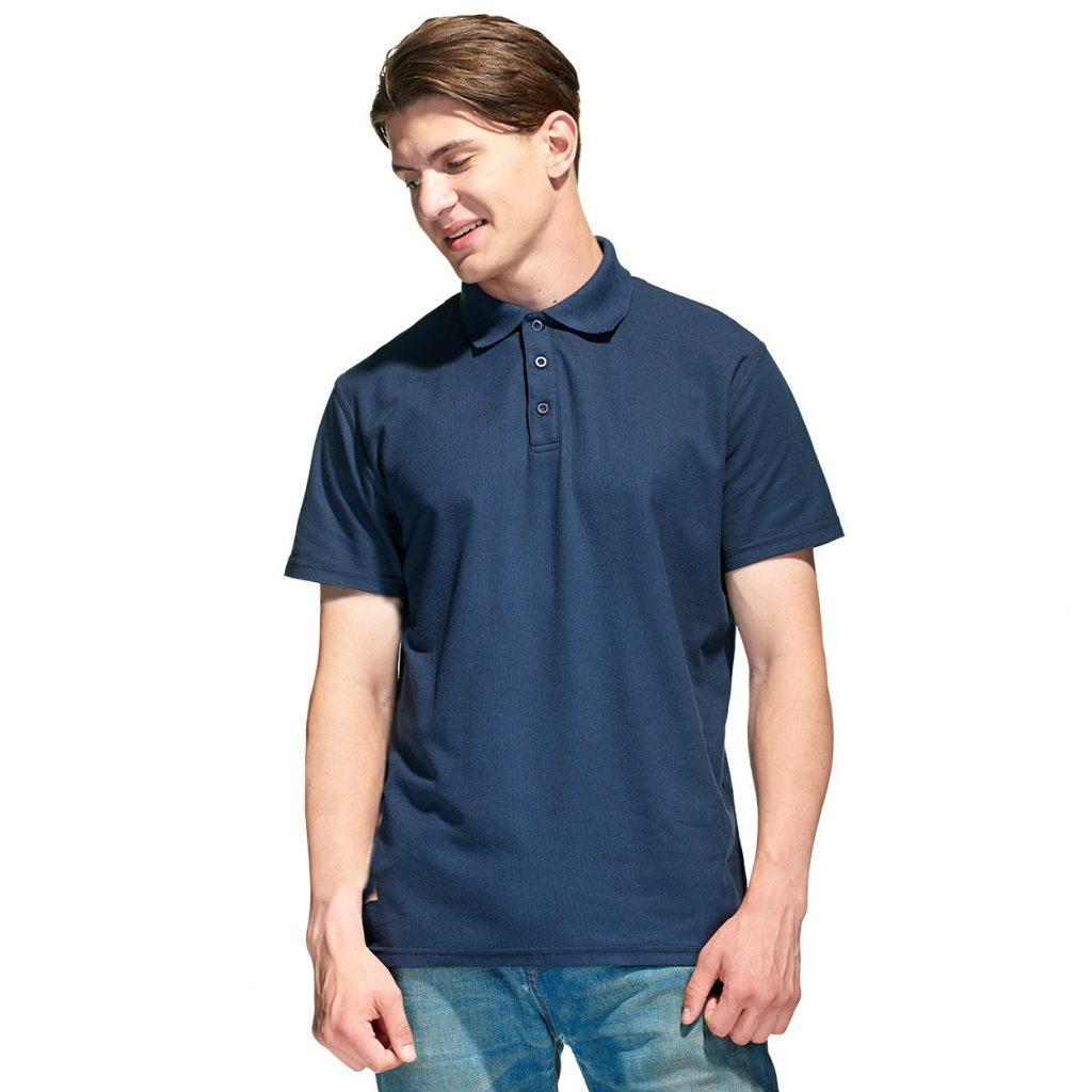 Мужская рубашка поло с именной вышивкой (Темно-синий)